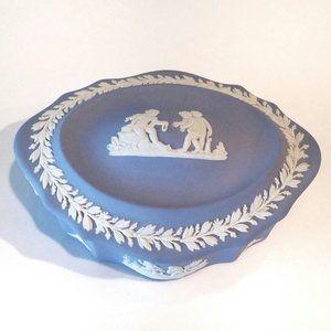 VTG Wedgwood Jasperware Blue Oval Trinket Box